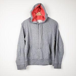J.Crew • Grey Drawstring Hoodie Sweatshirt Pink